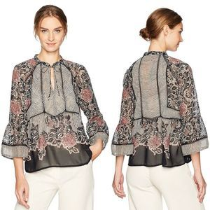 Lucky Brand Mixed Print Black Floral Lace Blouse